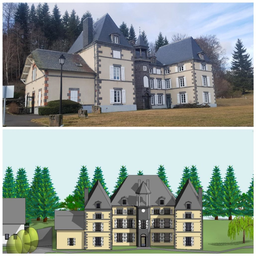 maquette 3D du château de Montlosier